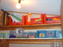 The entire bottom shelf is craft/activity related. And labeled, too!