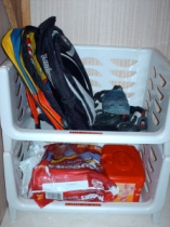 Backpacks & Shoes; Diapers & Wipes
